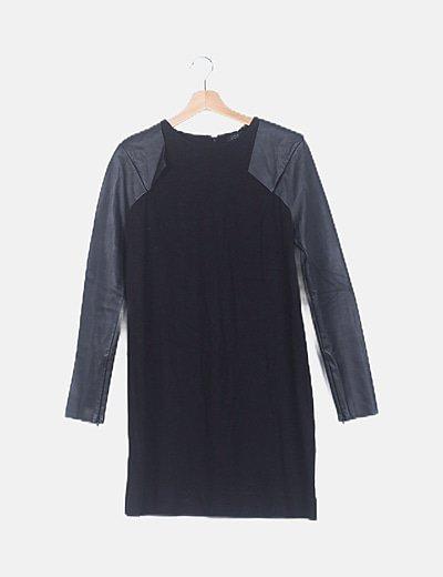 Vestido negro mangas enceradas