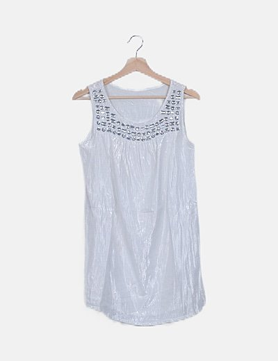 Vestido blanco glitter con pedrería