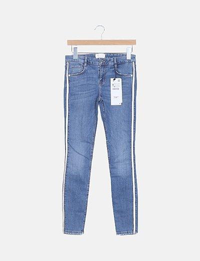 Jeans banda lateral glitter