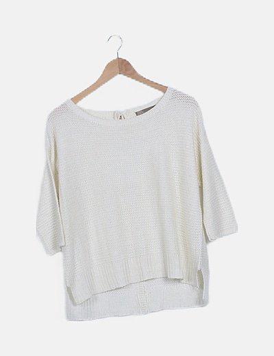 Jersey tricot blanco detalle botones