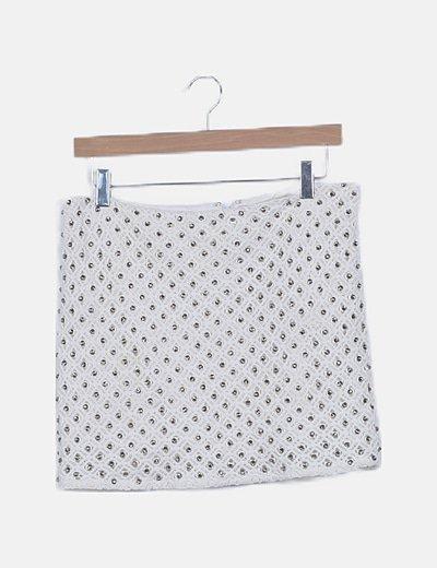 Falda crochet blanca con strass