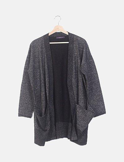 Kimono tricot negro glitter