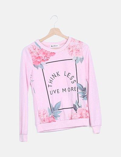 Sudadera rosa print floral