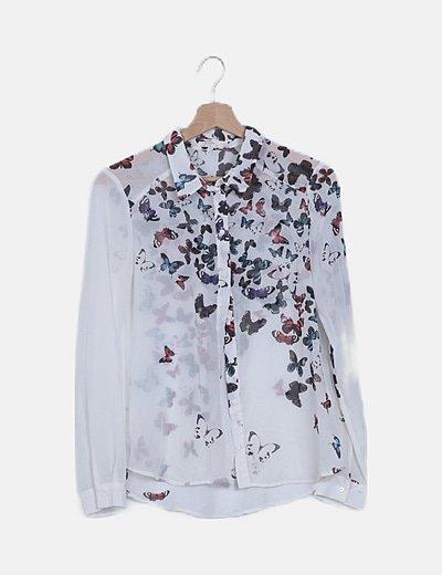 Camisa blanca estampado mariposas