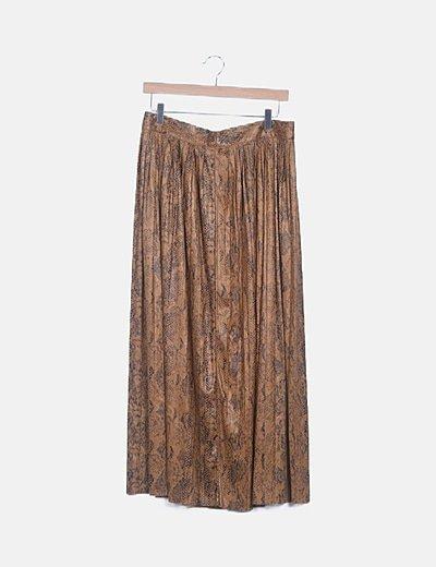 Falda maxi marrón animal print