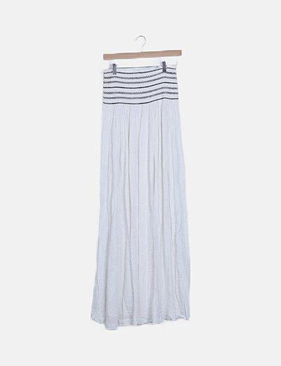 Falda maxi blanca con elástico bordado