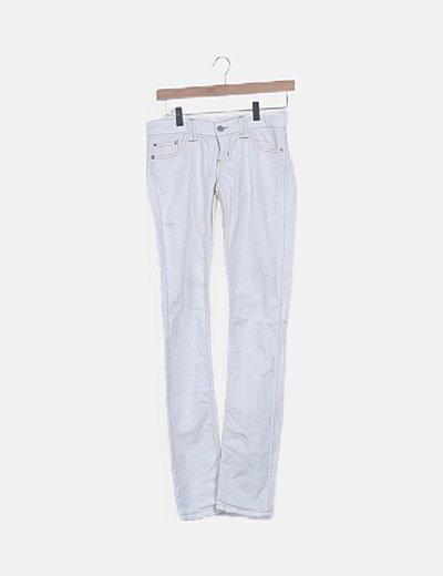 Pantalón denim recto blanco ripped