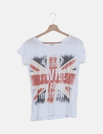 Camiseta blanca print bandera
