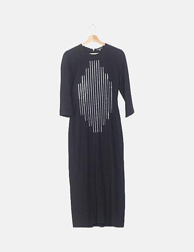 Vestido negro maxi con strass