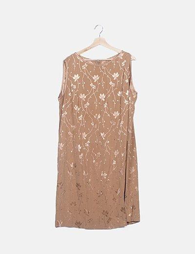 Vestido fluido marrón estampado floral