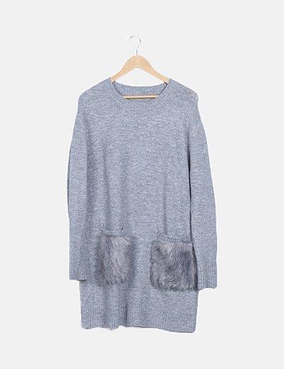 Vestido tricot gris bolsillo pelo