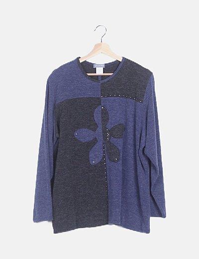 Jersey tricot azul combinado