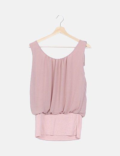 Camiseta rosa tirantes nude