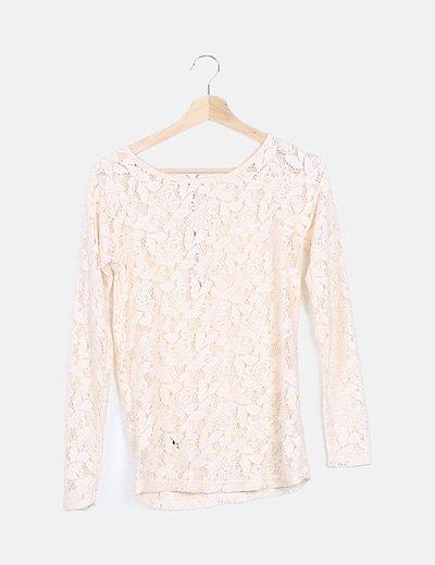 Camiseta crochet nude manga larga