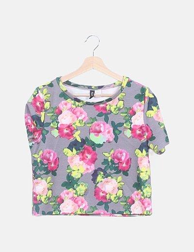 Camiseta gris estampado floral multicolor