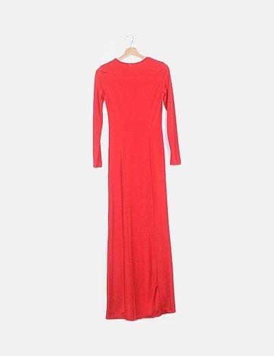 Vestido maxi rojo manga larga