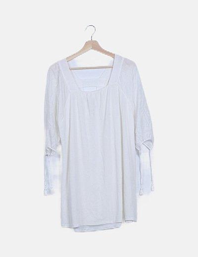 Camiseta blanca manga francesa
