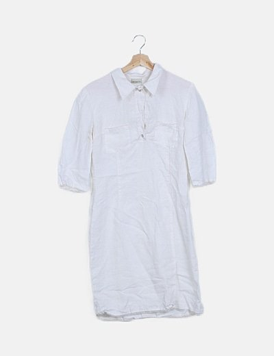Vestido mini blanco lino