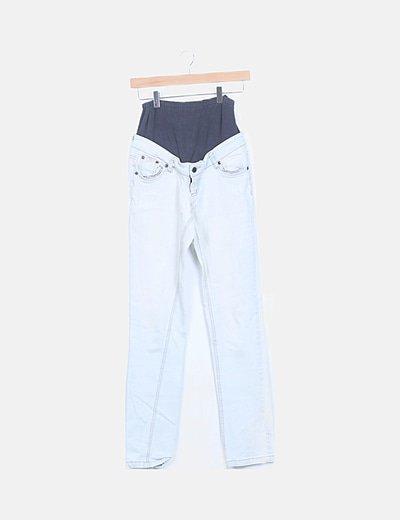 Jeans denim azul claro premamá