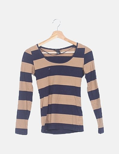 Camisa rayas marrón azul marino