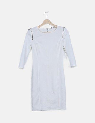 Vestido blanco cremalleras