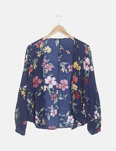 Kimono floral azul marino