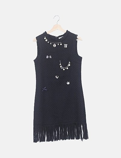 Vestido pichi tweed negro con abalorios