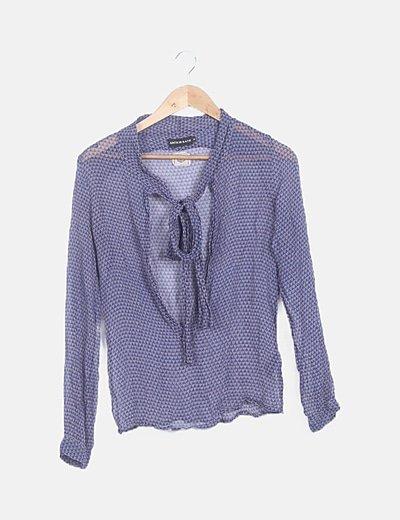 Blusa texturizada azul