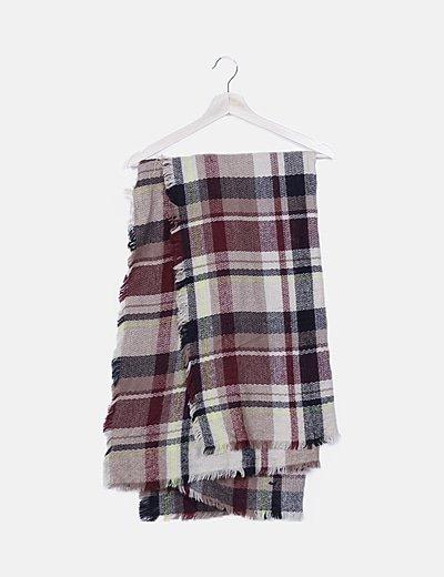 Maxi bufanda de cuadros desflecada