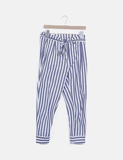 Pantalón paperbag de rayas