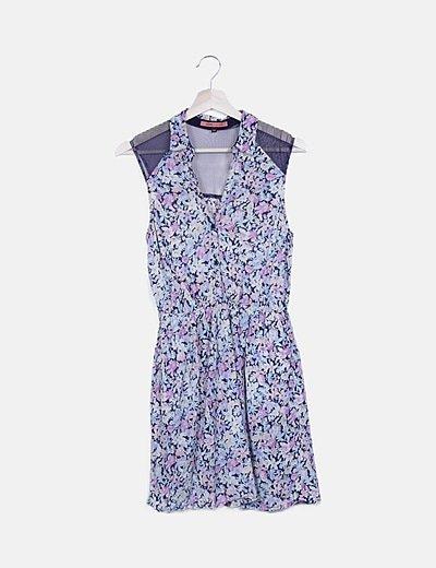 Vestido camisero floral sin mangas