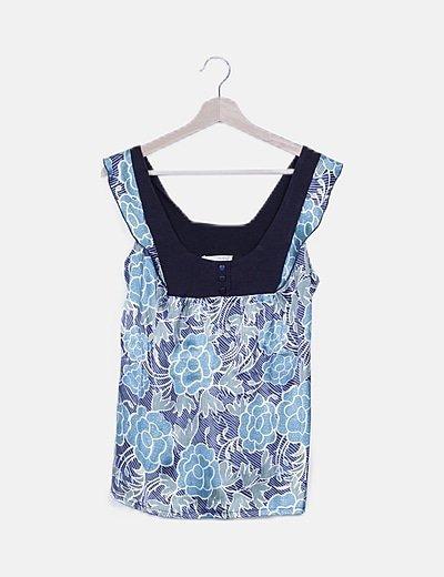 Blusa azul satén floral