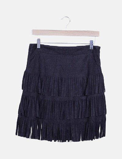 Mini falda negra antelina flecos