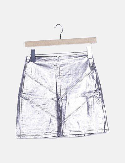 Falda gris metalizada