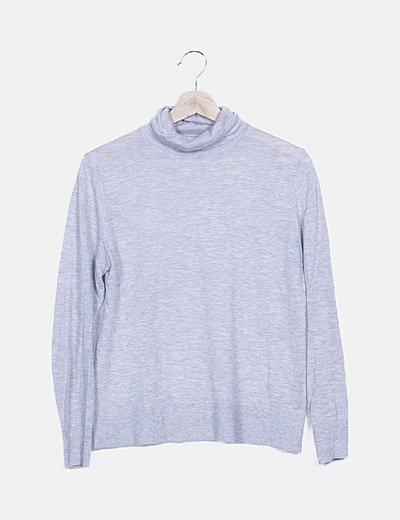 Jersey gris tricot cuello cisne