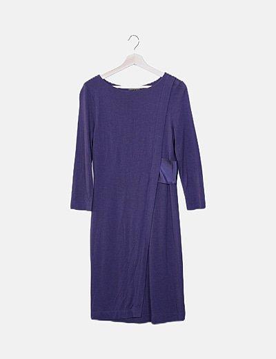 Vestido punto azul marino combinado