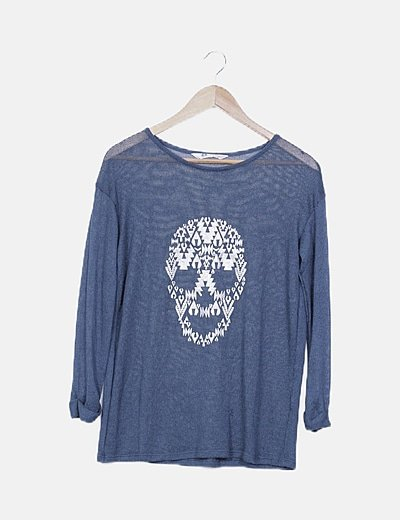 Jersey tricot azul calavera