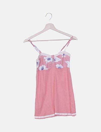 Camiseta rosa print floral