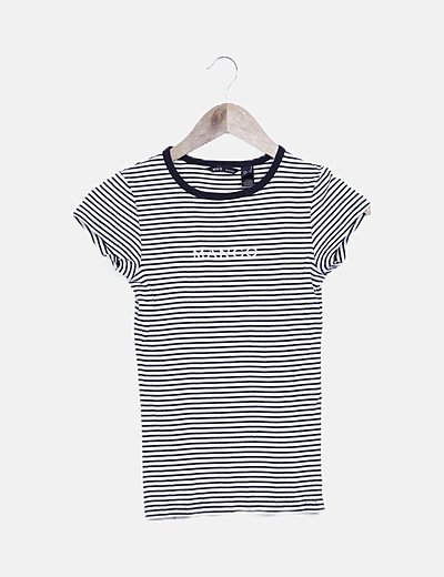 Camiseta rayas bicolor letter print