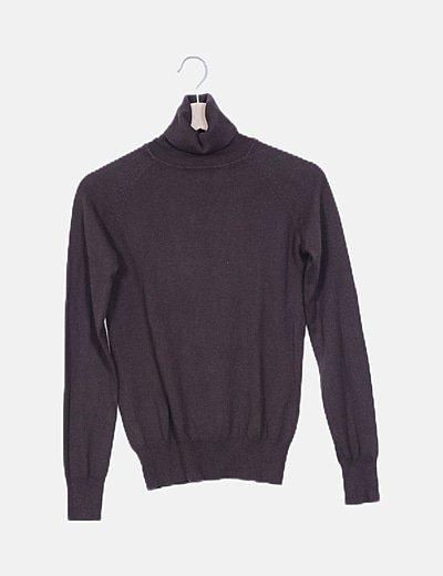 Jersey tricot marrón cuello cisne