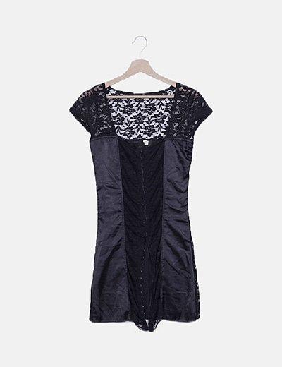 Vestido negro encaje combinado
