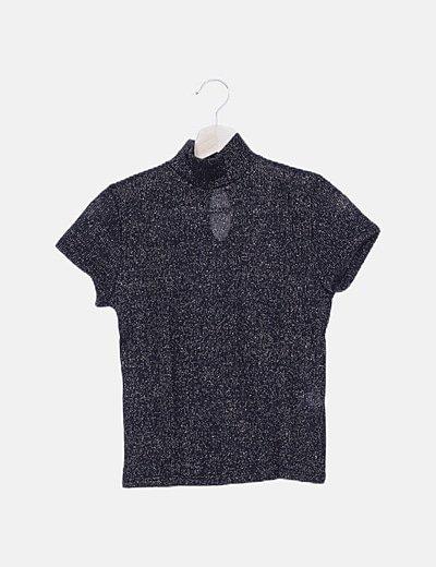 Camiseta punto negra jaspeado glitter dorado