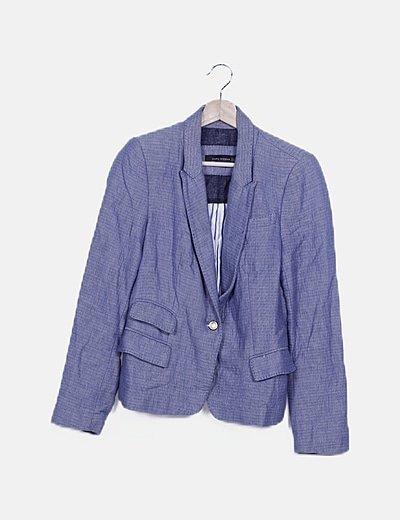 Blazer azul bolsillos