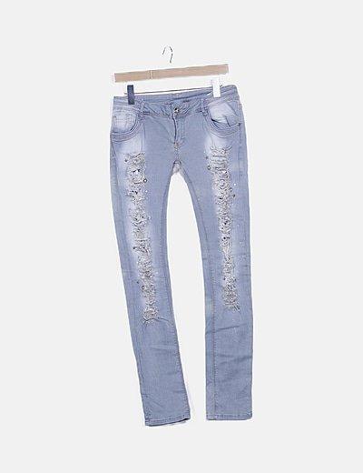 Pantalón denim gris ripped detalles pedrería