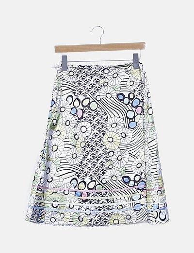 Falda satinada estampado multicolor