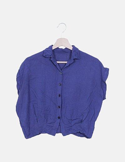 Camisa crop azul marina