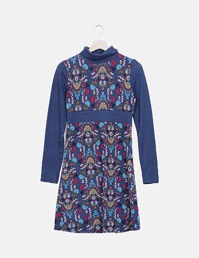 Vestido punto azul estampado floral