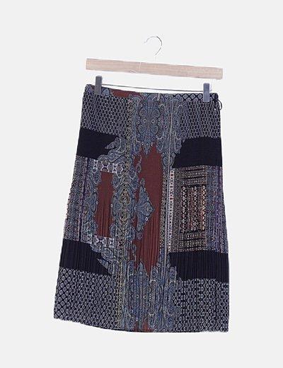 Falda plisada estampado combinado