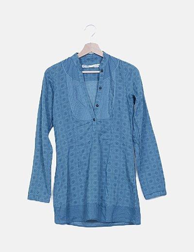 Blusa azul estampado vintage