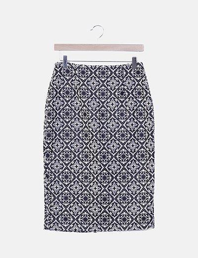 Falda midi estampado bicolor